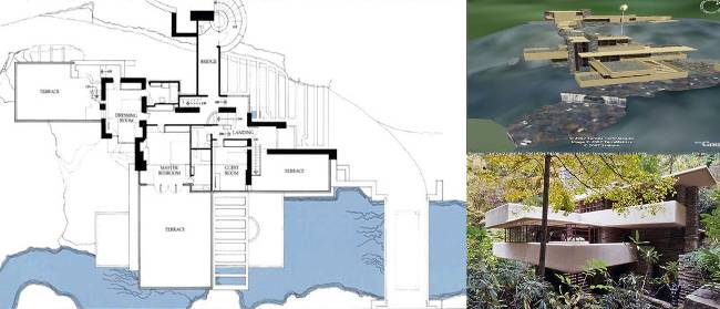 THE BUILDING APPROACH FALLING WATER, F. L. Wright